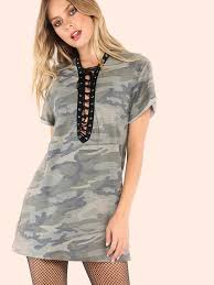 strappy camo t shirt dress camouflage shein sheinside
