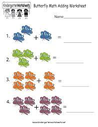 free printable butterfly math adding worksheet for kindergarten
