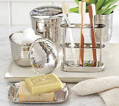 Polished Nickel Bathroom Mirrors by Hammered Nickel Bath Accessories Pottery Barn