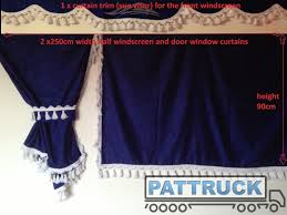 Side Curtains Truck Side Curtains Blue And White Tassels