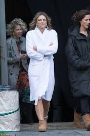elizabeth hurley the royals in dressing gown daily