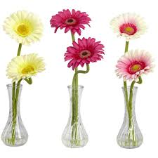 Mini Bud Vases 13 In H Assortment 2 Gerber Daisy With Bud Vase Set Of 3 1248