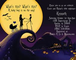 nightmare before silhouettes baby shower invitation 5 x