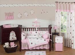 Hot Pink And Black Crib Bedding by Interior White Wooden Baby Bedding With Two Pink Curtains Also