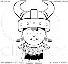 cartoon clipart of a black and white happy ogre viking