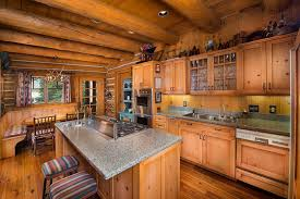 Galley Kitchens With Breakfast Bar Kitchen Rustic Brown Exposed Beam L Shaped Galley Breakfast Bar