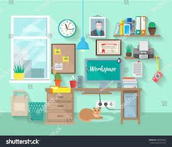 Room With Desk Student Businessman Workplace Room Desk Computer Stock Vector