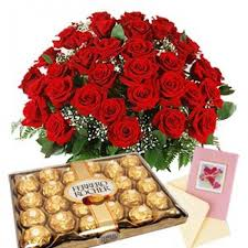 flowers and chocolate 40 roses and chocolate box with free card