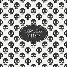 happy halloween white background geometric hipster seamless pattern with skulls and bones wrapping