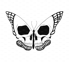 butterfly skull fabric carabaradesigns spoonflower