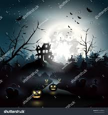 scary house woods halloween background stock vector 214980820