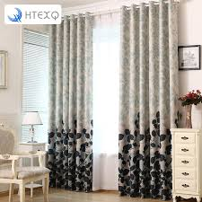 fashion light grey flower curtain foil printed thermal insulated