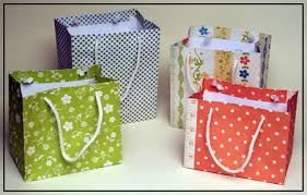 gift bags made using the bag box template