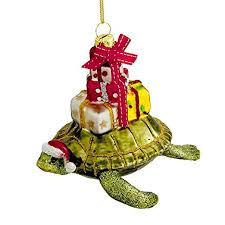 kurt adler 4 glass turtle with gift ornament home