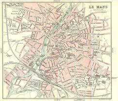 map of le mans le mans town city plan de la ville sarthe 1914 antique map