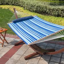 sundale outdoor hammock quilted fabric with pillow for two person