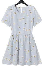 Light Blue Chiffon Dress Light Blue Daisy Print Short Sleeve Chiffon Dress Casual Dresses
