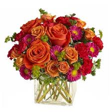 modern orange roses bouquet at send flowers