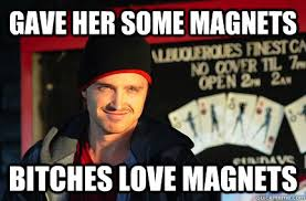 Magnets Bitch Meme - gave her some magnets bitches love magnets jesse pinkman magnets