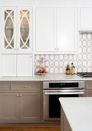 white and taupe lower kitchen cabinets white and taupe kitchen backsplash tiles transitional