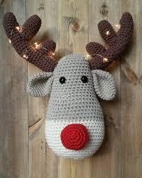 crochet christmas reindeer trophy head with lights https www