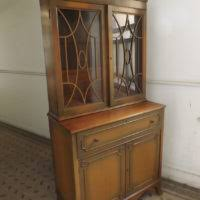 furniture antique secretary desk with glass hutch door and