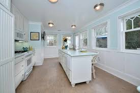 Cottage Wainscoting Cottage Kitchen With Concrete Floors U0026 Built In Bookshelf In La