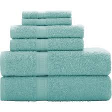 Aqua Towels Bathroom Mainstays Basic 6 Piece Towel Set Walmart Com