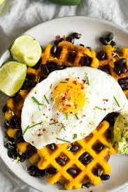 morning glory savoury sweet potato waffles sprinkle of green