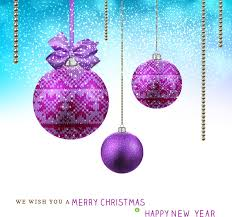 christmas card with hanging violet balls background free vector in