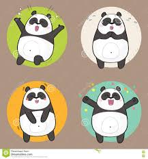 happiness character panda character with different emotions happiness stock
