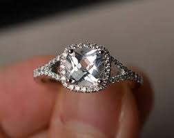white topaz engagement ring white topaz ring etsy