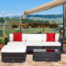 outsunny 5pc outdoor modular rattan wicker sofa set garden sectional