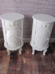new pair of white shabby chic round bedside tables cabinets w