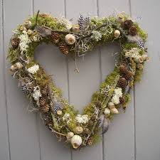 heart wreath poppy cone and lichen twig heart wreath by pippa designs