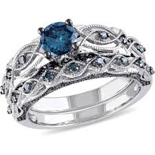 bridal sets rings tangelo 1 carat t w treated blue diamond 10kt white gold vintage