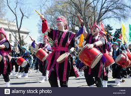 National Cherry Blossom Festival by Taiko Drummers In Parade National Cherry Blossom Festival Stock