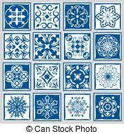 Portuguese Tiles Kitchen - vector clip art of banner azulejos in portuguese tiles style for