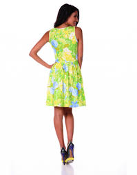 fit and flare canary yellow and lime green geranium sleeveless dress