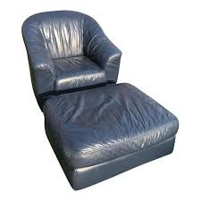 barrel chair with ottoman mid century modern blue leather barrel chair ottoman chairish