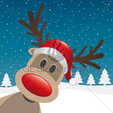 reindeer red nose santa claus hat gl stock images