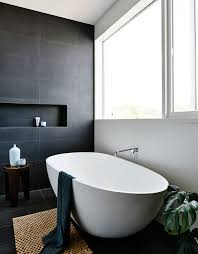 black and white bathroom with slate tiles creating a black and