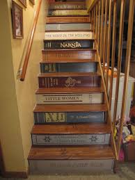 fantasy story themed stair bookshelf under glossed brown wooden