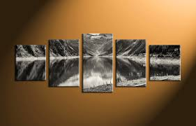 home decor canvas 5 piece mountain black and white large canvas