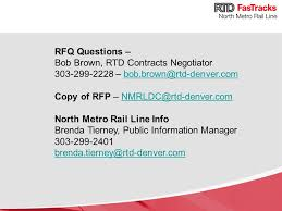 Rtd Denver Light Rail Schedule North Metro Rail Line Request For Proposals Rfp Commerce City