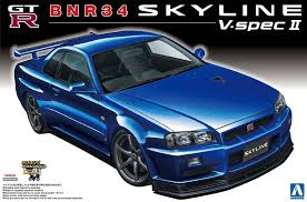 nissan skyline aoshima 1 24 scale model car kit nissan skyline gt r r34 v spec ii