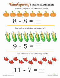 thanksgiving math addition and subtraction education