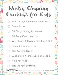 clean bedroom checklist weekly cleaning checklist for kids happiness is homemade