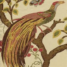 Drapery And Upholstery Fabric Grand Phoenix Multi Jacquard Floral Bird Upholstery Fabric 30431