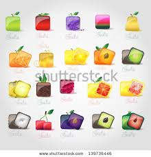 editable fruit square shaped fruit icon set stock vector 155379920